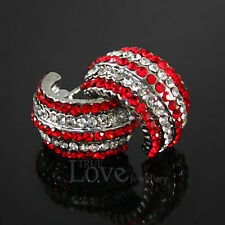 Luxury 18K WGP Red White Earring Use Swarovski Crystal EP1923 AC