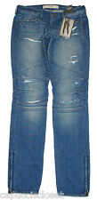 Abercrombie & Fitch Womens Jeans BRETT Skinny Destroyed Denim Blue 0/25 NEW $128