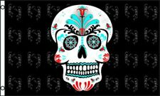 3'x5' SUGAR SKULL FLAG JOLLY ROGER PIRATE BANNER DEATH BONES HALLOWEEN SCARY 3X5