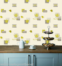 Grey & Green Teapots & Cups on a Cream Background, Washable Kitchen Wallpaper