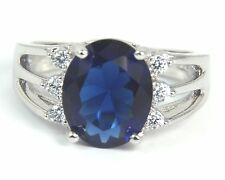 Women's 14 Carat White Gold filled Blue Cubic Zirconia Ring UK Size P