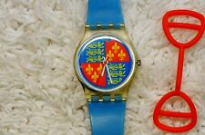 Women's SWATCH Clear Body Family Crest Blue Band Watch 1986 Lion Heart LK102