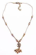 FINELY-DETAILED GOLD TONE NECKLACE FAUX PEARLS METAL BEADS ROUND CHARMS (ZX36)