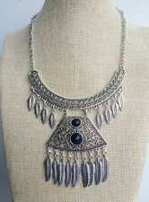 Silver Tibetan Vintage Style Bohemian Mexican Gypsy Indian Style Tassel Necklace