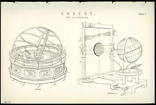 Orrery and Eclipsarean 1885 Antique Original Print from Engraving Astronomy