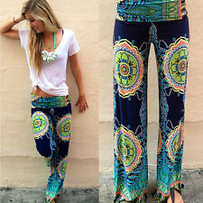 Summer Women Loose Boho Harems Straight Leg Long Pants Palazzo Trousers Yoga