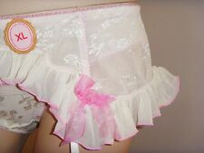 Sheer Panties Frilly Lace Suspenders Sissy Crossdressing White/Pink Size L