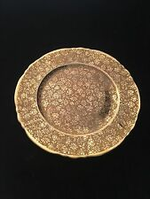 ALL OVER GOLD (AOG) ROSES AND DAISIES PLATE BY DEPOSE FROM LIMOGES, FRANCE