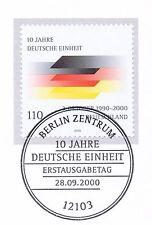 BRD 2000: 10 Jahre Deutsche Einheit Nr 2142 mit Berliner Ersttagsstempel 1A 1610