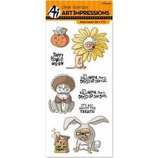 Art Impressions Halloween Clear Howl-oween Stamp Set Cat Dogs