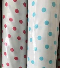 Oil Cloth YardageTablecloth Craft Fabric BTY Light Blue Polkadots On White