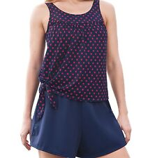 BRAND NWT 2-Piece Classic NAVY & RED Polka Dot SKORT SWIMSUIT Bra/Brief PLUS 14W