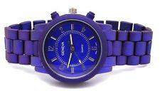 Authentic Geneva Unisex Watch Colorful Matte finished Navy,Red,Turquoise,Brown,
