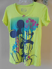 Disney Mickey Mouse NYC Bright Green Paint Splash Splatter Design Womens T-Shirt