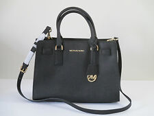 Michael Kors Dillon Saffiano Black Leather Satchel Handbag Purse