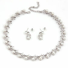 Fashion Jewelry Sets Wedding/Bridal Pearl &Crystal Necklace Earring Set