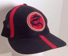 Adjustable Black Dragon  Hat Cap Mesh Red Stripes Ninja Fighting Warrior