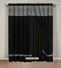 4-Pc Twig Flower Floral Bloom Curtain Set Dark Gray Black Valance Drape Liner