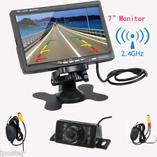 "7"" TFT LCD Monitor+Car Wireless Rear View Back Up Camera Kit IR LED Night Vision"