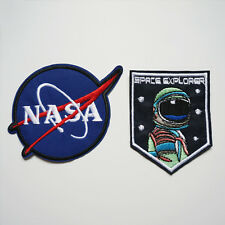 2 x Embroidery NASA Space Explorer Iron / Sew On Patch Badge Bag Jeans Applique