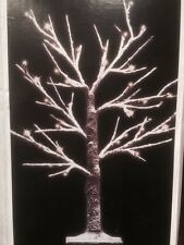4ft 125cm Snowy Effect Twig Tree/Pre-lit/48 LED Cool White Christmas Lights