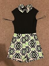 Womens Black And Green Short Aztec playsuit size 8 Outfit