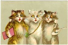 POSTCARD FRENCH CATS TRIO FOUR-LEAF CLOVER UNSIGNED MAURICE BOULANGER