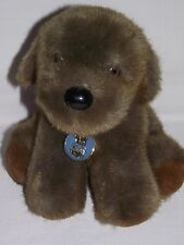 "Dakin Puppy Dog Plush 1986 w/ Tags Dark Brown Stuffed Animal Vintage 9"" Korea"