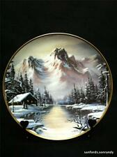 Ron Huff PEACEFUL SOLITUDE Mountain Cabin Wall Hanging Plate 1992 Franklin Mint