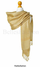 Gold Pashmina Shawl/Wrap/Scarf/CoverUp/Formal/Wedding/Prom/Gift/Party