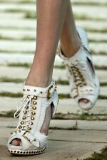 OMG!!! Alexander McQueen SS11 Studded Python Peep Toe Booties IT36.5/UK3.5 £1400