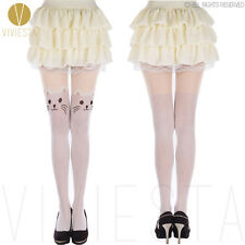 CUTE CAT WHITE TATTOO TIGHTS - 60D Japanese Women's Girls' Sexy Fancy Pantyhose