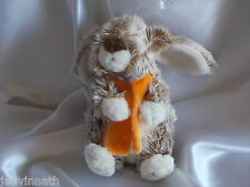 Doudou lapin chiné marron, écharpe orange, Lascar , Blankie/Lovey/Newborn toy