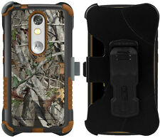 AUTUMN LEAF TREE CAMO RUGGED CASE + BELT CLIP HOLSTER FOR MOTOROLA DROID TURBO 2