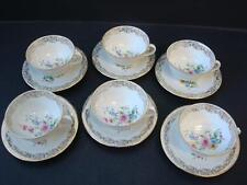 VINTAGE LIMOGES FINE CHINA GILT AND FLORAL SPRAY 6 X CUPS AND SAUCERS