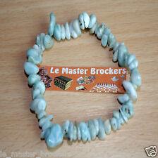 Bracelet Baroque Larimar 100% naturel en pierre Lithothérapie NEUF