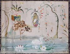 19th Century Abstract Oil on Canvas Painting of Swan on Lake with Vase & Urn