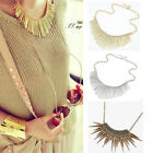 Gold Womens Metal Multilayer Chain Tassels Choker Bib False Collar Long Necklace