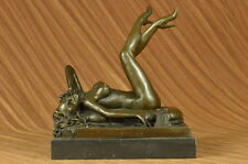 Erotic Art by Preiss Nude Woman on Phone Bronze Sculpture Statue Figure Figurine