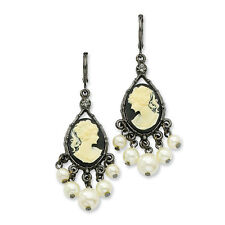 Cultura Glass Pearl & Cameo Dangle Earrings Black Plated Leverback 1928 Boutique