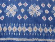 HAND WOVEN BLUE,GRAY,YELLOW, VIOLET 100% COTTON IKAT FABRIC BY THE YARD