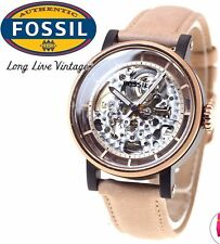 NIB Fossil Women's ME3079  Boyfriend Analog Automatic Self  Wind Beige Watch