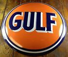 GULF OIL & GAS COMPANY HIGHLY EMBOSSED DOME BUTTON SHAPED METAL ADVERTISING SIGN