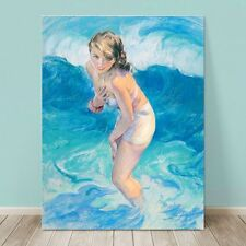 """VINTAGE Pin-up Girl CANVAS PRINT 36x24"""" Standing in Beach waves by Sea"""