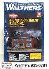 HO Scale Walthers Cornerstone 933-3781 Four-Unit Brick Apartment Building Kit