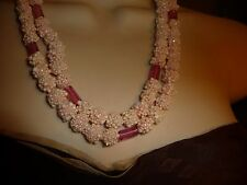 #713 vtg costume NECKLACE  2 strands PALE PINK popcorn plastic  beads