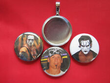 STING   WWP WWE wrestling  Handmade changeable  Pendant w/Black  Necklace