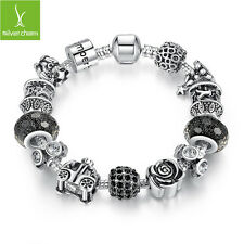 Authentic Silver My Princess Car With Black Glass Bead Bracelet Fit Black Friday