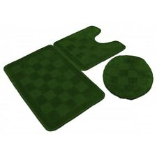3 Piece Solid Olive Green Bathroom Set Bath Mat Contour Lid Cover Rug Carpet