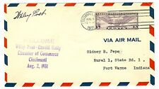 PILOT WILEY POST SIGNED 1934 COVER ROUND THE WORLD FLYER  RTW CINCINNATI VISIT